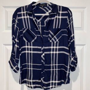 Navy plaid button up